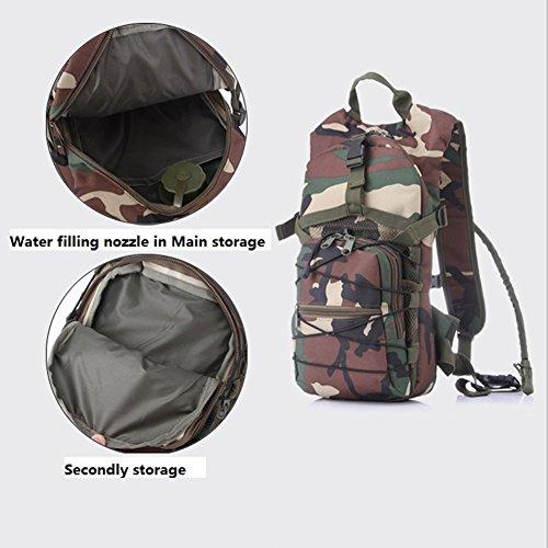 Outdoor Sports Wasser Tasche Rucksack für Radfahren 2,5l schwarz - schwarz