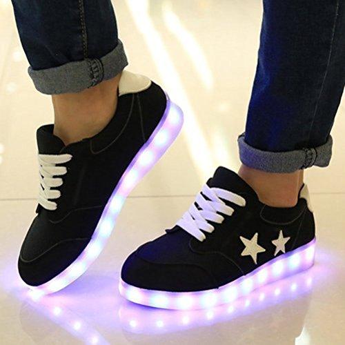 [+Piccolo asciugamano]Luci LED colorati bagliore e ricarica scarpe dargento nuovo scarpe casual USB maschio luminoso e di coppia scarpe femmin c26