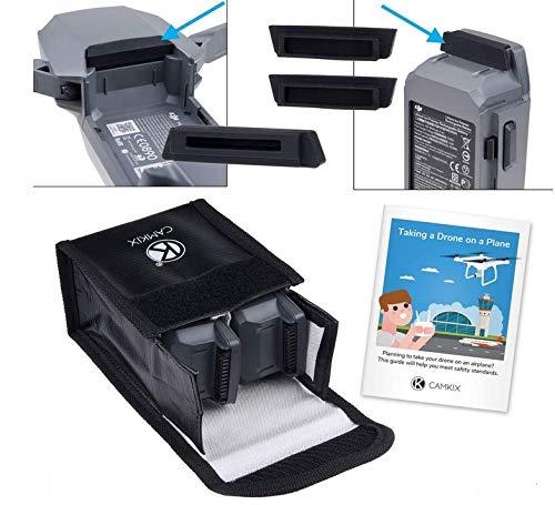 CamKix® Reisesicherheits-Pack Kompatibel mit DJI Mavic Pro/Platinum - Für 2 Akkus - Beinhaltet: LiPo-Sicherheitstasche, 2X Akku-Deckel, 1x Ladeanschluss-Abdeckung und Reise-Anweisungen -