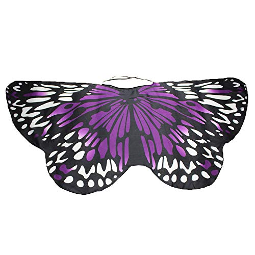 YWLINK Eltern Kind Chiffon Klassisch Karneval Bohemien Schmetterling Print Schal Jungen MäDchen Cosplay ZubehöR Erwachsener Weihnachten Halloween FlüGel Umhang Bunt Pashmina(Größe:147 * 70CM,ElternK)