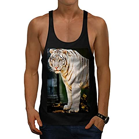 Siberian Tiger Rare White Cat Men Black M Gym Tank Top | Wellcoda