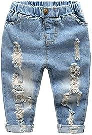 LAPLBEKE Bambino Ragazzi Jeans Pantaloni 4 Tasche Strappati Vita Elastica Pantaloni Casual Primavera e Autunno