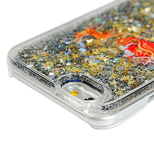 iPhone 6 / iPhone 6S Hülle, Yokata PC Transparent Hart Case mit Tannenbaum Motiv 3D Flüssigkeit Liquid Schutzhülle Bling Glitzer Diament Durchsichtig Schwarz