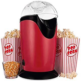 Roawon Popcornmaschine, Heißluft-mini elektrischer Popcorn-Hersteller, Heißluftbetrieb,Popcornautomat Betrieb ohne Fett/Öl, dadurch Kalorienarm,1200W Popcorn Maschine für Zuhause