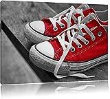Coole rote Chucks Schuhe schwarz/weiß Format: 60x40 auf Leinwand, XXL riesige Bilder fertig gerahmt mit Keilrahmen, Kunstdruck auf Wandbild mit Rahmen, günstiger als Gemälde oder Ölbild, kein Poster oder Plakat