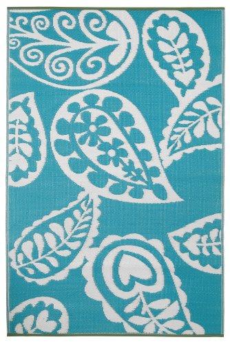 Fab Hab 022099179443 Paisley Teppich, 150 x 240 cm, pastell blau / weiß (Geometrische Teppich Paisley)