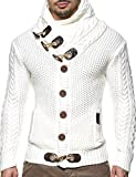Leif Nelson Maglione lavorato a maglia da uomo LN4195 bianco/beige L