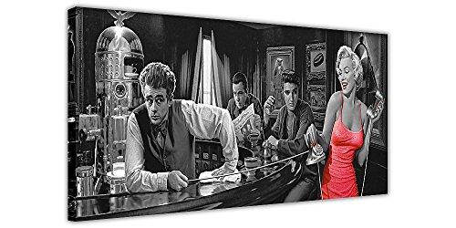 Panorama schwarz und weiß MONROE ELVIS JAMES DEAN und Humphrey auf Rahmen Leinwand Prints Art Wand Bilder, schwarz / weiß, 06- 40