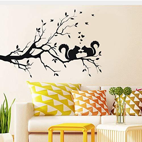 Eichhörnchen Auf Langen Ast Wandaufkleber Tiere Cartoon Stil Poster Kunst Aufkleber Kinderzimmer Dekor Aufkleber Für Kinder 58x38 cm