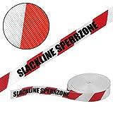ALPIDEX Slackline 25 m (3 t) + 2 x Baumschutz + Ratschenschutz, Farbe:Slackline Sperrzone. rot/weiß - 2