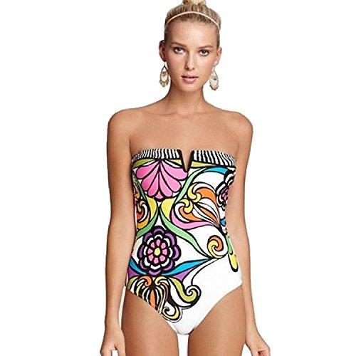 Minetom Donne Bikini Sexy Costumi Da Bagno Beachwear Piscina Mare Completo Estate Costume Bianco 46