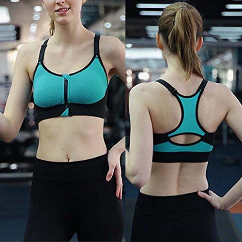 ESHOO Femmes Soutien-gorge dos nageur Débardeurs Course Gym Fitness Yoga rembourrée Sports Bra Noir