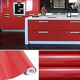 KINLO 5x0.61 M PVC Küchenschrank-Aufkleber Selbstklebend Küchenfolie Klebefolie Schrankfolie Deko Tapeten Rollen für Küchenschränke Möbel ,Rot