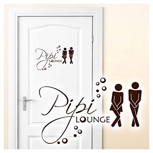 Grandora Wandtattoo Sprüche Pipi Lounge Mann Frau I braun 17 x 11 cm I WC Türaufkleber Piktogramm Bad Badezimmer Wandaufkleber Wandsticker W755