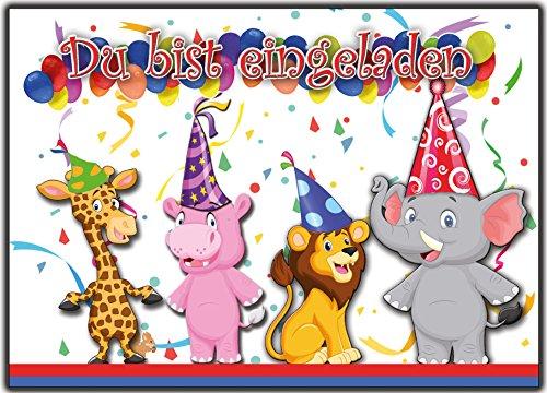 12 Einladungskarten zum Kindergeburtstag Zoo Tiere Geburtstagseinladungen Einladungen Geburtstag Kinder Jungen Mädchen wilde-tiere Vorlage Karten