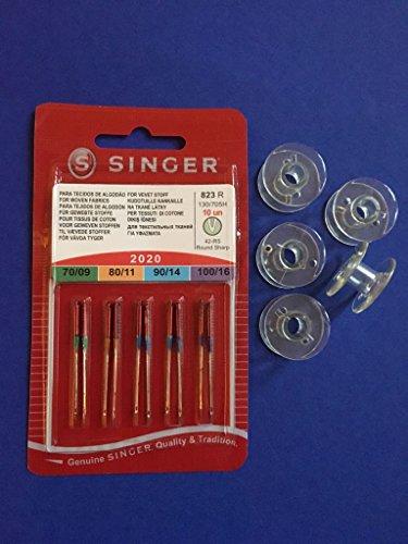 Singer 10 Original Nähmaschinen Nadeln Sortiment 2020 Stärke 70/09 80/11 90/14 100/16 für gewebte Stoffe + 5 Kunststoffspulen für Singer Nähmaschinen Mercury 1507, 8280