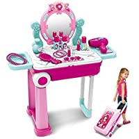 Khilona House Make Up Dressing Table Glamour & Beauty Set With Mirror, Stool, Hair Dryer, Lipstick, Necklace…