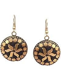 Pitara For You Tibetan Hook Earrings For Women - Gold