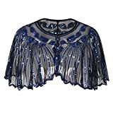 QinMM Chal de Fiesta Capa de Lentejuelas Elegante Bolero Chal de Mujeres de los 1920s para Vestido de Boda Fiesta Cena