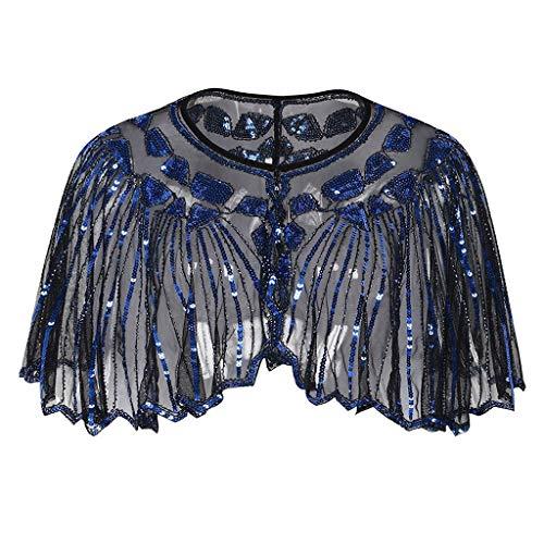 Dorical New Vintage Schal Damen 1920er Jahre Retro Schal Umschlagtücher für Abendkleider Stola für Hochzeit Party Gatsby Kostüm Accessoires Sale(Blau-1,One Size)