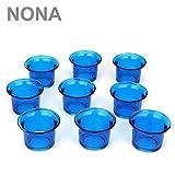 NoNa 4,5 cm Teelicht-Gläser - Neun im Set - BLAU - Teelichtglas Kerzenglas Kerzengläser Teelichthalter