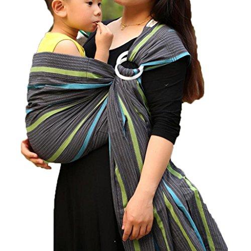 Vlokup Echarpes de portage Porteurs de bébé Ring Sling Grey Rainbow