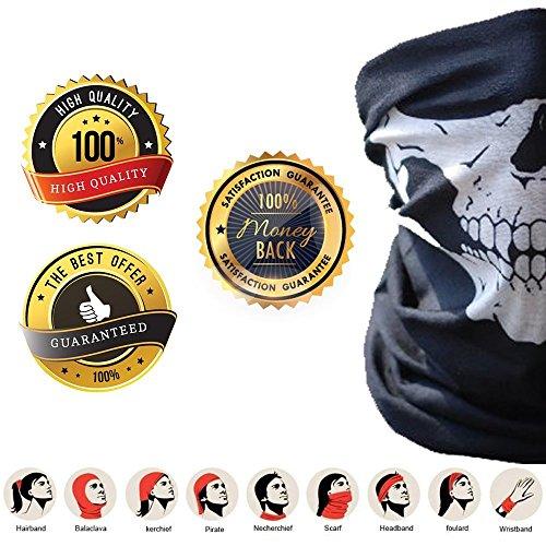 1+1 Premium Multifunktionstuch 1 von 2 gekauften Artikeln ist kostenlos | Sturmmaske | Bandana | Schlauchtuch | Halstuch mit Totenkopf- Skelettmasken für Motorrad Fahrrad Ski Paintball Gamer Karneval Kostüm Skull Maske