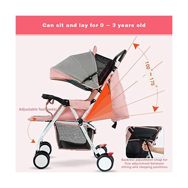 JIAX Baby Stroller, Foldable Pram Carriage With 5-Point Harness, Convenience Stroller, Lightweight Stroller With Aluminum Frame, Extra Large Storage Basket-Infant Stroller For Travel And More JIAX ✢FULL CANOPY DESIGN: Light rain proof, 300D / 600D Oxford fabric is skin-friendly and breathable, soft and comfortable, strong and durable, universal in four seasons in winter, warm and cool in summer, new upgrade, large rear window ✢ROLL UP THE REAR CURTAIN IN SPRING AND SUMMER: more airy ✢THE REAR CURTAIN CAN BE LOWERED IN AUTUMN AND WINTER: more windproof and warm, can sit and lay for 0 ~ 3 years old 3