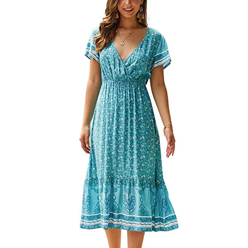Women Boho Floral Print Short Sleeve V Neck Pleated Waist A-line Summer Dress, Women Bohemian Printed Dress Short Sleeve V Neck Dress Sundress Summer Beach Pleated Faux Wrap
