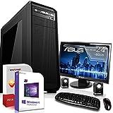 Gaming PC Komplett Set / Multimedia COMPUTER inkl. Windows 10 Pro 64-Bit! - AMD Quad-Core A10-7860K 4 x 4,0 GHz - Nvidia Geforce GTX 1050 Ti mit 4GB GDDR5 RAM - 8GB DDR3 RAM - 120GB SSD + 1000GB HDD - ASUS 24-Zoll TFT Monitor - 24-fach DVD Brenner - Lautsprecher - Tastatur + Maus - USB 3.0 - DVI - HDMI - Displayport - Gamer PC mit 3 Jahren Garantie!