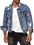 LCR Back Edition Herren Jeansjacke blau Destroyed mit Patch LCR9575 (M)