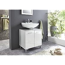 BMG Mobel Hochglanz SOFTCLOSE Bad Unterschrank Waschbeckenunterschrank Marbella In Weiss Mit Softclose Und Einlegeboden