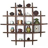 ZHJBD Home decoration display rack/Solid Wood Chinese Decorative Display Cabinet Tea Set Antique Frame Wall Antique