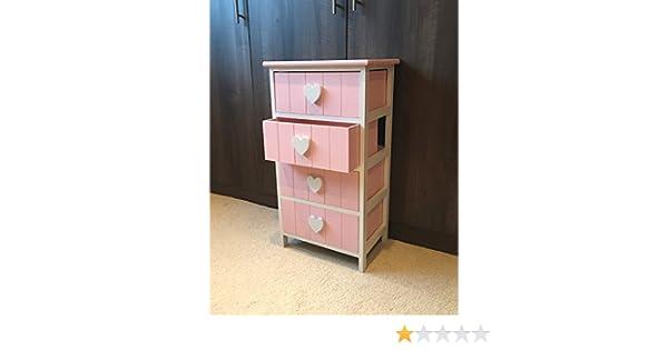 Home Delights Rosa e Bianco cassettiera comodino Girls Princess Heart Unit