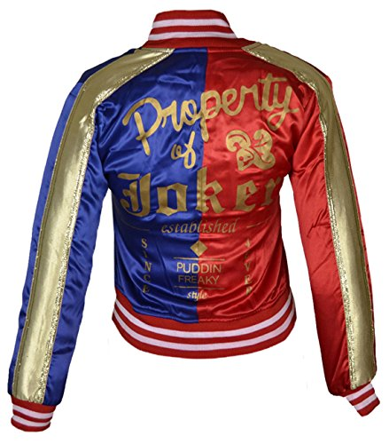 Suicide Squad Harley Quinn Satin Jacket Margot Robbie Joker Costume for Women XXS TO 5XL Blue & Red