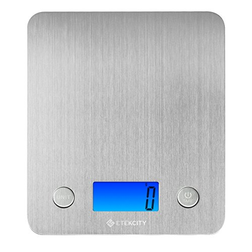 Etekcity Stainless Steel Kitchen Scale, Digital Food Scale with 30% Larger Platform & Backlight Display, 11lb/5kg, Slim Design, Silver