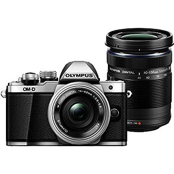 """Olympus E-M10 Mark-II - Cámara EVIL de 16.1 Mp (pantalla 3"""", estabilizador óptico, vídeo Full HD, WiFi), plata y negro - Kit cuerpo cámara con M-Zuiko 14 - 42 mm Pancake y Double Zoom 40 - 150 mm IIR"""