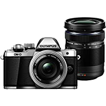 "Olympus E-M10 Mark-II - Cámara EVIL de 16.1 Mp (pantalla 3"", estabilizador óptico, vídeo Full HD, WiFi), plata y negro - Kit cuerpo cámara con M-Zuiko 14 - 42 mm Pancake y Double Zoom 40 - 150 mm IIR"