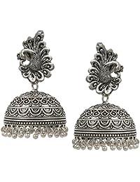 Black Metal Oxidised Two Tone Plated Jhumka Jhumki Earrings For Women & Girls Eid Special Gift
