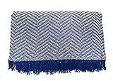 Cabatex Home - Colcha Multiusos Plaid Foulard Cubre SOFÁ O Cama Mod. ZIGA (Azul, 230_x_260_cm)