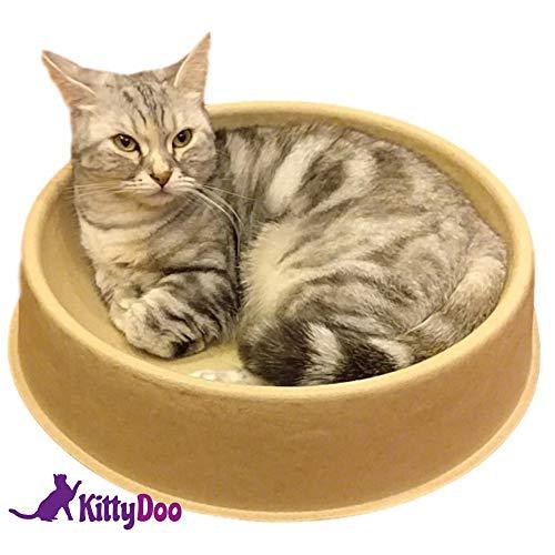 KittyDoo Katzenbett ComfyCat - Katzenschale Rund, Bequem, Gesund, Kratzfest aus Pappe, Papier (1 - Pack)