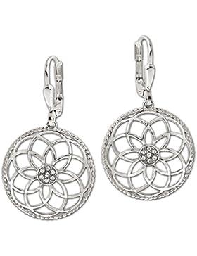 CLEVER SCHMUCK Silberne große lange Ohrhänger Mandala Ø 22 mm Blume des Lebens mit vielen Zirkonias in der Mitte...