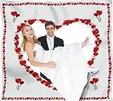 Hochzeitsherz zum Ausschneiden für das Brautpaar inkl. 2 Nagelscheren. Bedrucktes Bettlaken, das Hochzeitsspiel für Braut und Bräutigam.