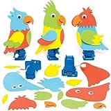 """Bastelset """"Rennpapagei"""" zum Aufziehen für Kinder zum Gestalten, Basteln und Dekorieren – Kreatives Frühlings-Bastelset mit Moosgummi für Kinder (3 Stück)"""
