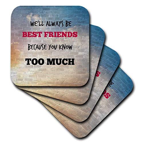 3drose Best Friends. Freundschaft. Spruch.–Soft Untersetzer, Set von 8(CST 211228_ 2)
