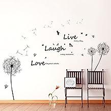 """Walplus - Adesivo grande da parete con dente di leone, farfalle e scritta """"Live Laugh Love"""""""