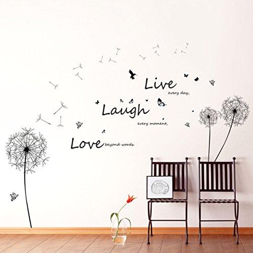 """Walplus - Riesiger Löwenzahn""""Live Laugh Love"""" Slogan Wandaufkleber Sticker"""