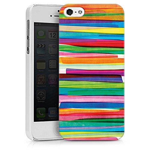 Apple iPhone 7 Tasche Hülle Flip Case Streifen Wasserfarbe Bunt Hard Case weiß