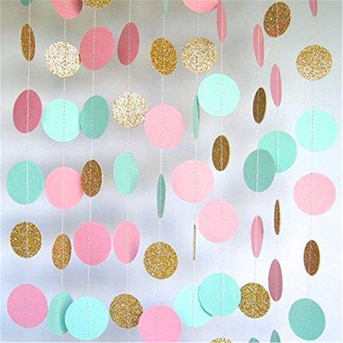 hangnuo 5m/5pcs Pois Colorati carta ghirlanda per matrimonio compleanno anniversario Natale Ragazze sfondo decorazione, Light (Dots Ragazzi Tie)