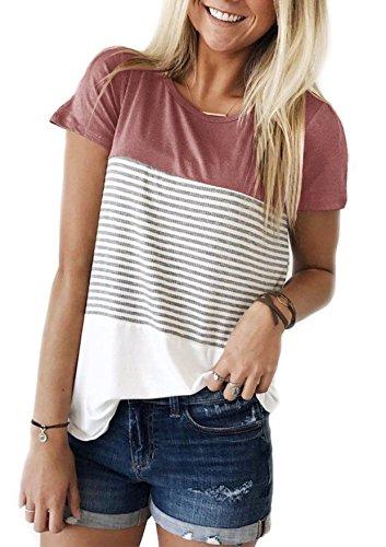 Yidarton Damen Sommer T-Shirt Casual Streifen Patchwork Kurzarm Oberteil Tops Bluse Shirt (Small, Rosa)